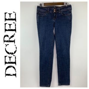 Decree Womens Skinny Jeans Cotton Blend Low Waist